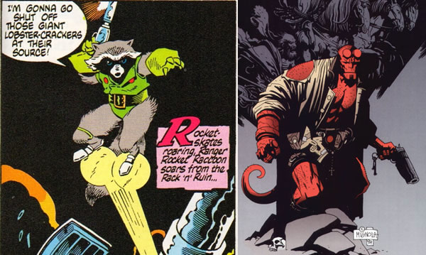 Rocket Raccoon and Hellboy