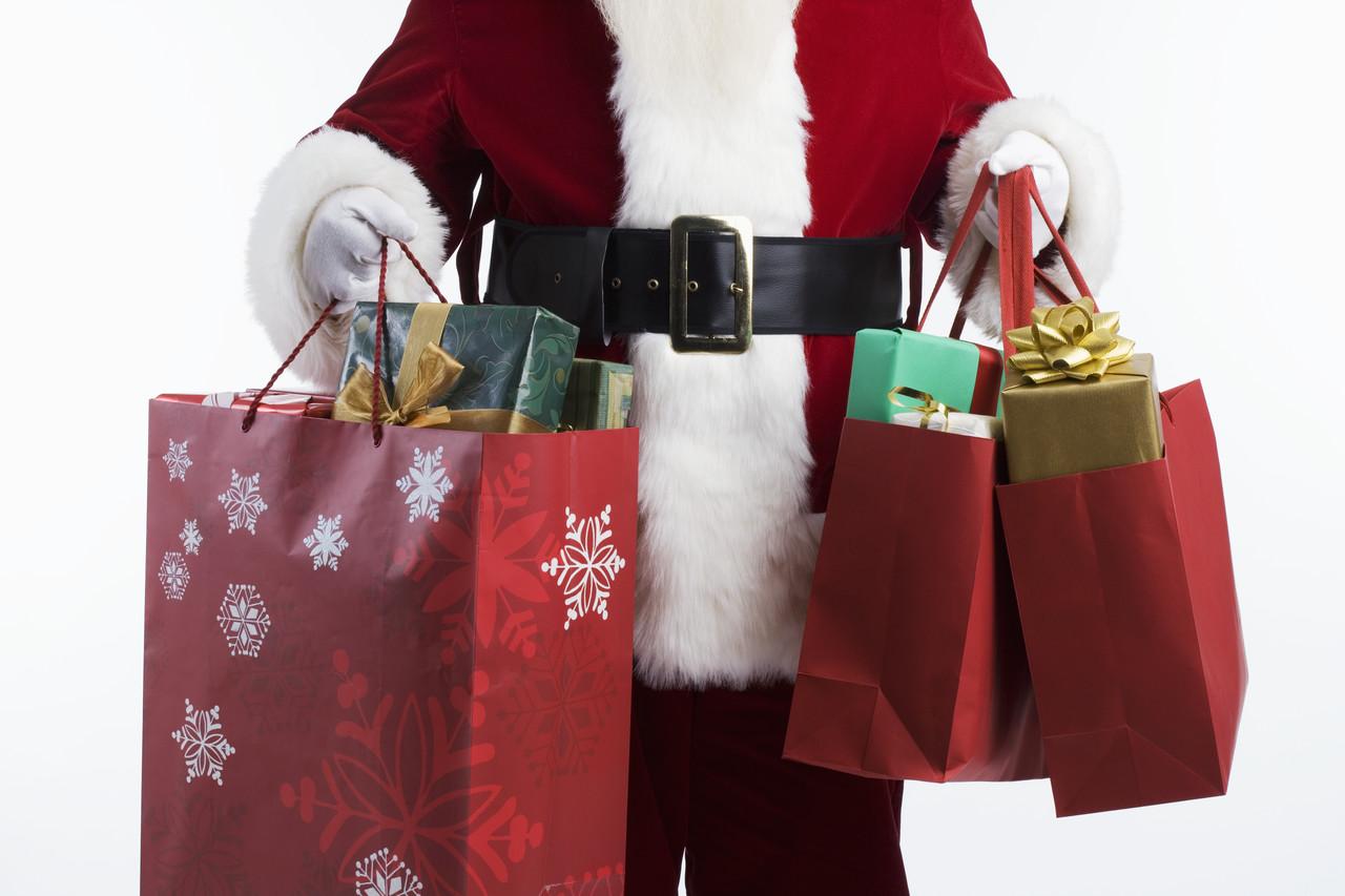 Santa with shopping bags