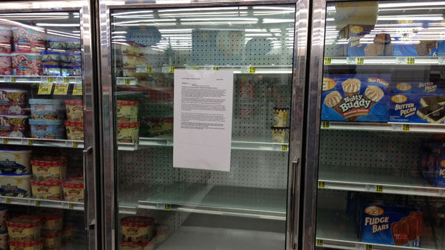 Empty store shelves from product recall