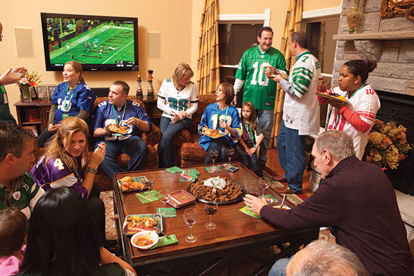 people at Super Bowl party