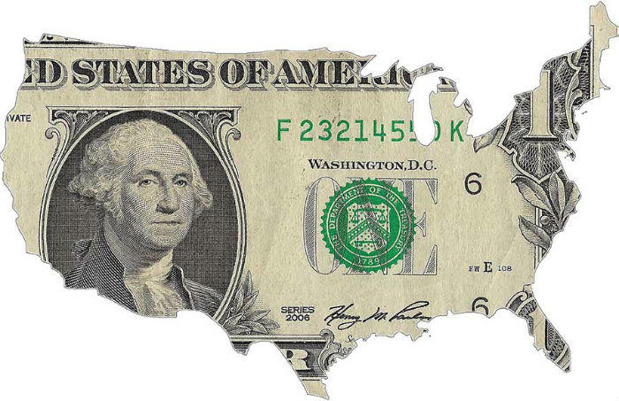 dollar bill USA map