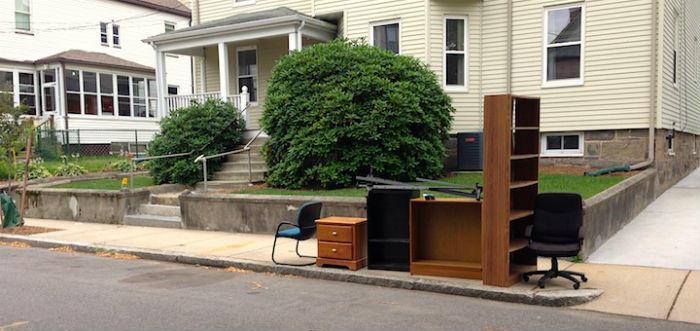trash by curb