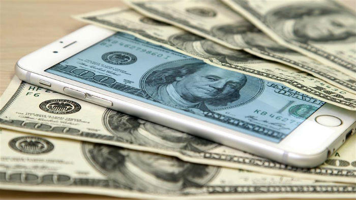 iPhone with cash