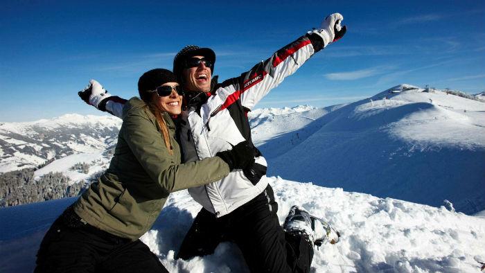 Couple on ski vacation